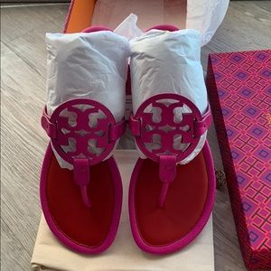 NIB Tory Burch imperial pink Miller sandals